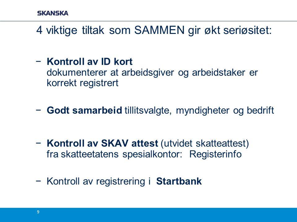 9 4 viktige tiltak som SAMMEN gir økt seriøsitet: −Kontroll av ID kort dokumenterer at arbeidsgiver og arbeidstaker er korrekt registrert −Godt samarb