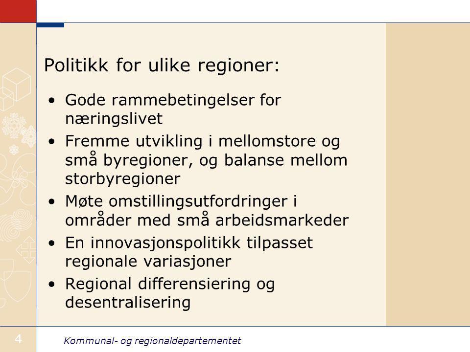 Kommunal- og regionaldepartementet 4 Politikk for ulike regioner: Gode rammebetingelser for næringslivet Fremme utvikling i mellomstore og små byregioner, og balanse mellom storbyregioner Møte omstillingsutfordringer i områder med små arbeidsmarkeder En innovasjonspolitikk tilpasset regionale variasjoner Regional differensiering og desentralisering