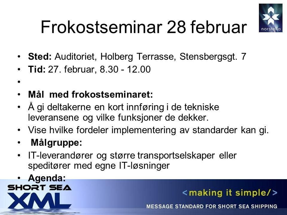 Frokostseminar 28 februar Sted: Auditoriet, Holberg Terrasse, Stensbergsgt.