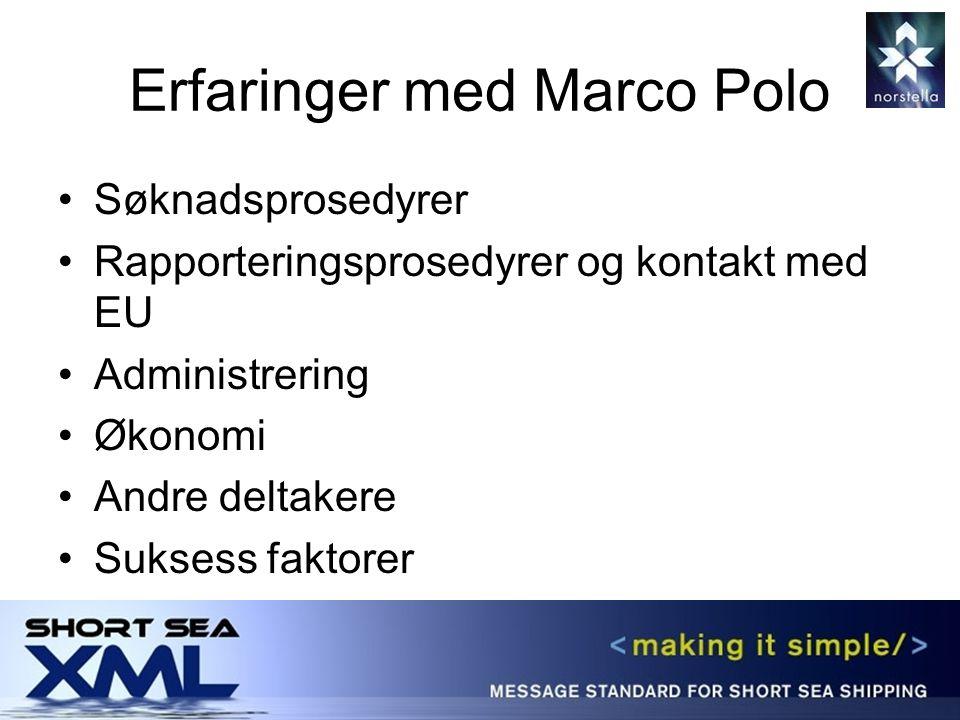 Erfaringer med Marco Polo Søknadsprosedyrer Rapporteringsprosedyrer og kontakt med EU Administrering Økonomi Andre deltakere Suksess faktorer