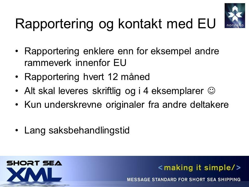 Rapportering og kontakt med EU Rapportering enklere enn for eksempel andre rammeverk innenfor EU Rapportering hvert 12 måned Alt skal leveres skriftlig og i 4 eksemplarer Kun underskrevne originaler fra andre deltakere Lang saksbehandlingstid