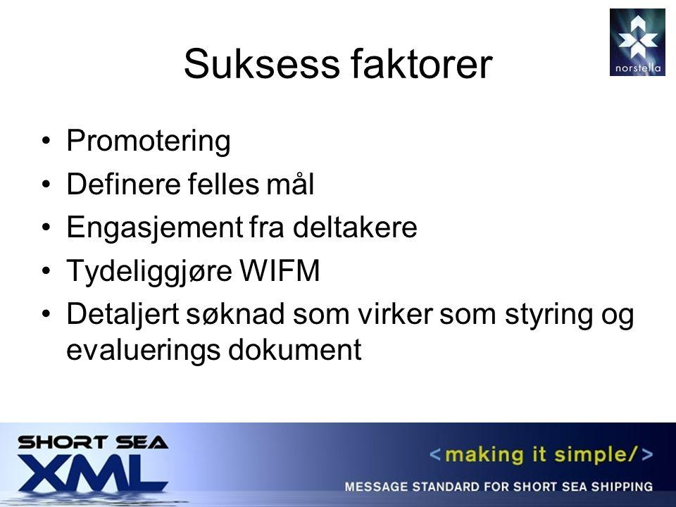 Suksess faktorer Promotering Definere felles mål Engasjement fra deltakere Tydeliggjøre WIFM Detaljert søknad som virker som styring og evaluerings dokument