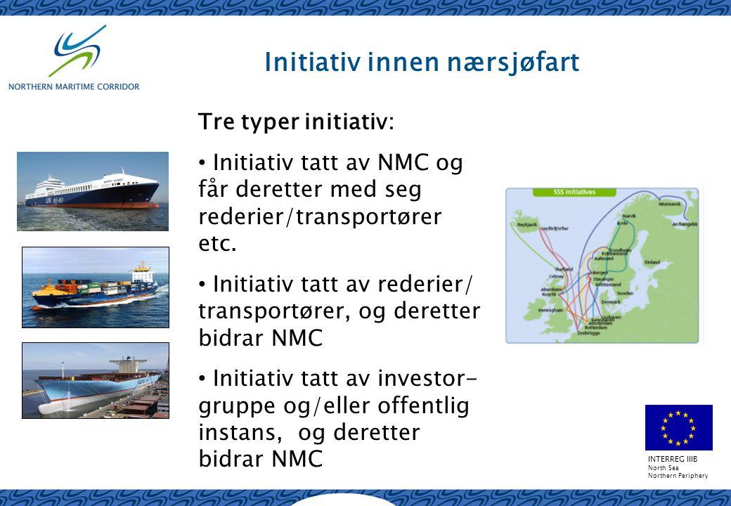INTERREG IIIB North Sea Northern Periphery Initiativ innen nærsjøfart Tre typer initiativ: Initiativ tatt av NMC og får deretter med seg rederier/transportører etc.