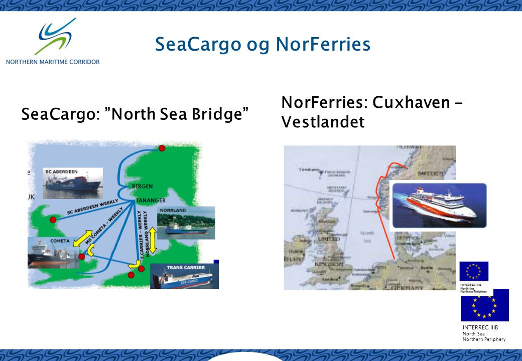 INTERREG IIIB North Sea Northern Periphery SeaCargo og NorFerries SeaCargo: North Sea Bridge NorFerries: Cuxhaven - Vestlandet