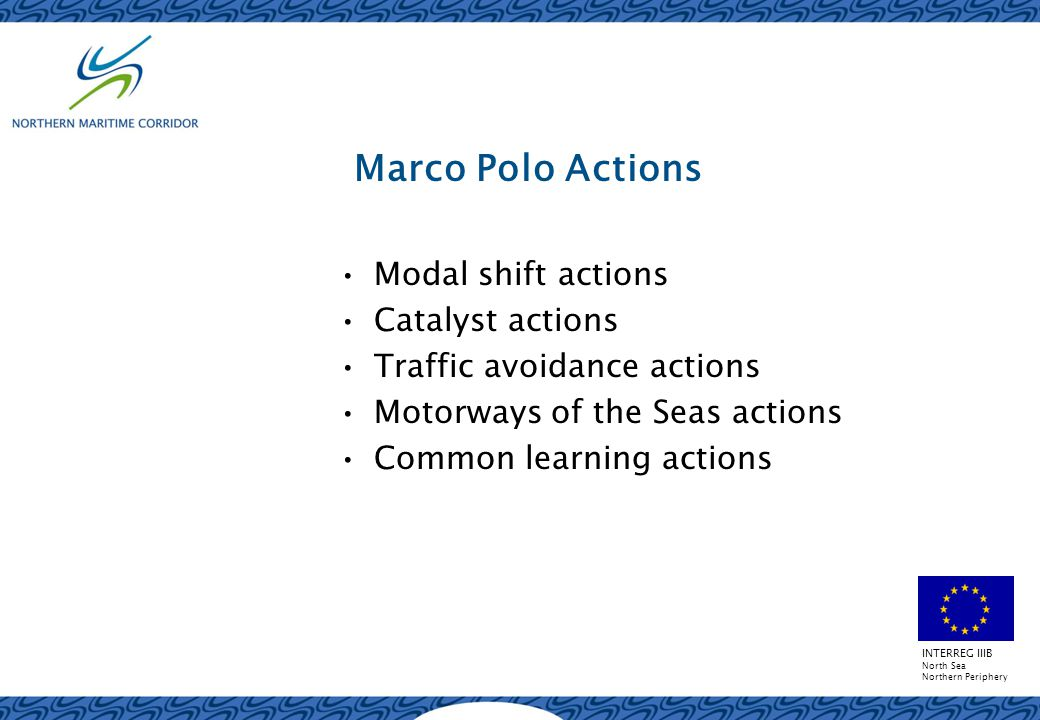 INTERREG IIIB North Sea Northern Periphery Marco Polo Actions Modal shift actions Catalyst actions Traffic avoidance actions Motorways of the Seas actions Common learning actions