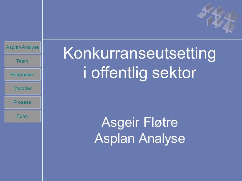 Team Referanser Prosess Metoder Funn Asplan Analyse Team Referanser Prosess Metoder Funn Konkurranseutsetting i offentlig sektor Asgeir Fløtre Asplan Analyse