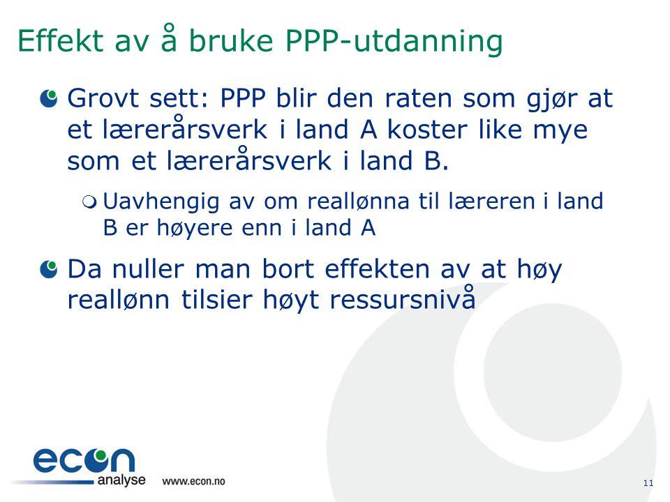 11 Effekt av å bruke PPP-utdanning Grovt sett: PPP blir den raten som gjør at et lærerårsverk i land A koster like mye som et lærerårsverk i land B. 