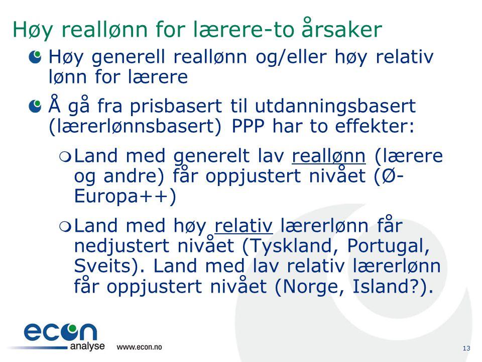 13 Høy reallønn for lærere-to årsaker Høy generell reallønn og/eller høy relativ lønn for lærere Å gå fra prisbasert til utdanningsbasert (lærerlønnsb
