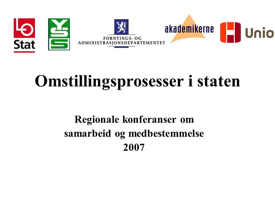 Omstillingsprosesser i staten Regionale konferanser om samarbeid og medbestemmelse 2007