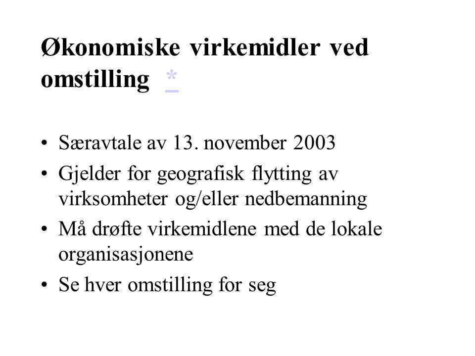 Økonomiske virkemidler ved omstilling ** Særavtale av 13. november 2003 Gjelder for geografisk flytting av virksomheter og/eller nedbemanning Må drøft
