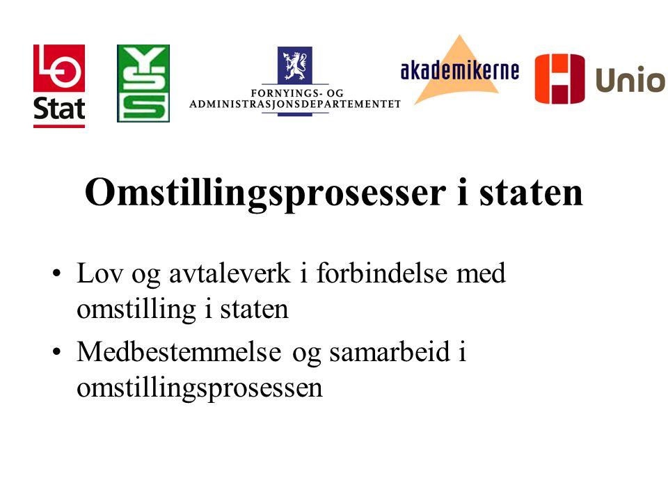 Omstillingsprosesser i staten Lov og avtaleverk i forbindelse med omstilling i staten Medbestemmelse og samarbeid i omstillingsprosessen
