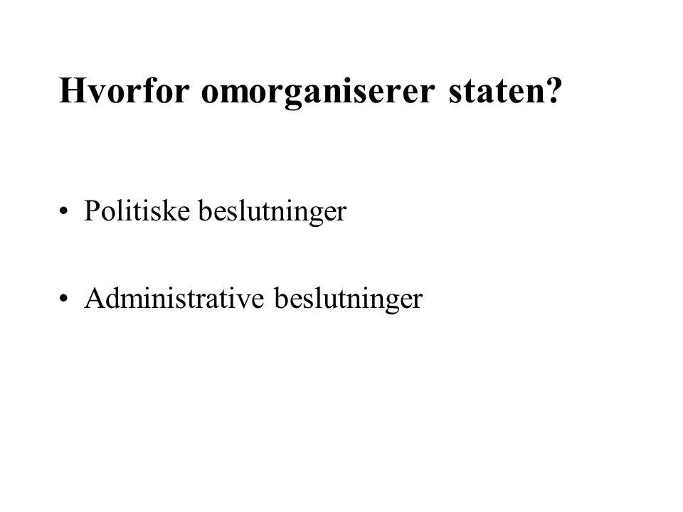 Hvorfor omorganiserer staten? Politiske beslutninger Administrative beslutninger