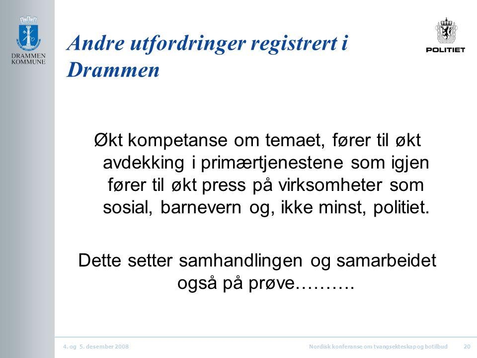4. og 5. desember 2008Nordisk konferanse om tvangsekteskap og botilbud20 Andre utfordringer registrert i Drammen Økt kompetanse om temaet, fører til ø