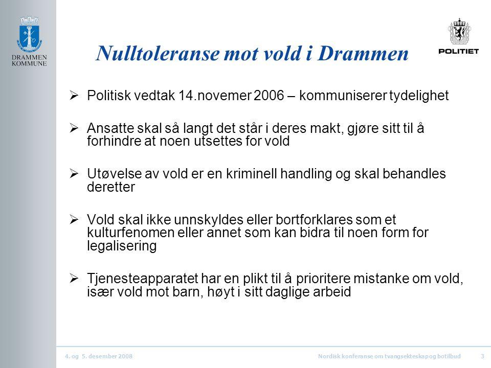 4. og 5. desember 2008Nordisk konferanse om tvangsekteskap og botilbud3 Nulltoleranse mot vold i Drammen  Politisk vedtak 14.novemer 2006 – kommunise