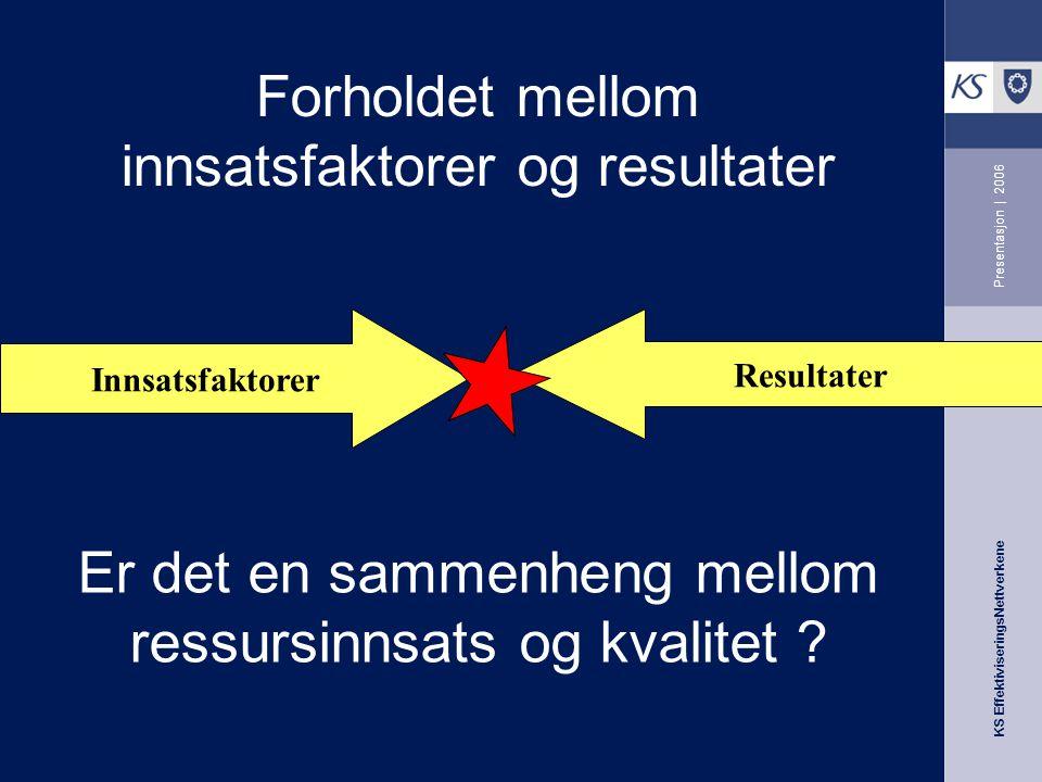 KS EffektiviseringsNettverkene Presentasjon | 2006 Er det en sammenheng mellom ressursinnsats og kvalitet .