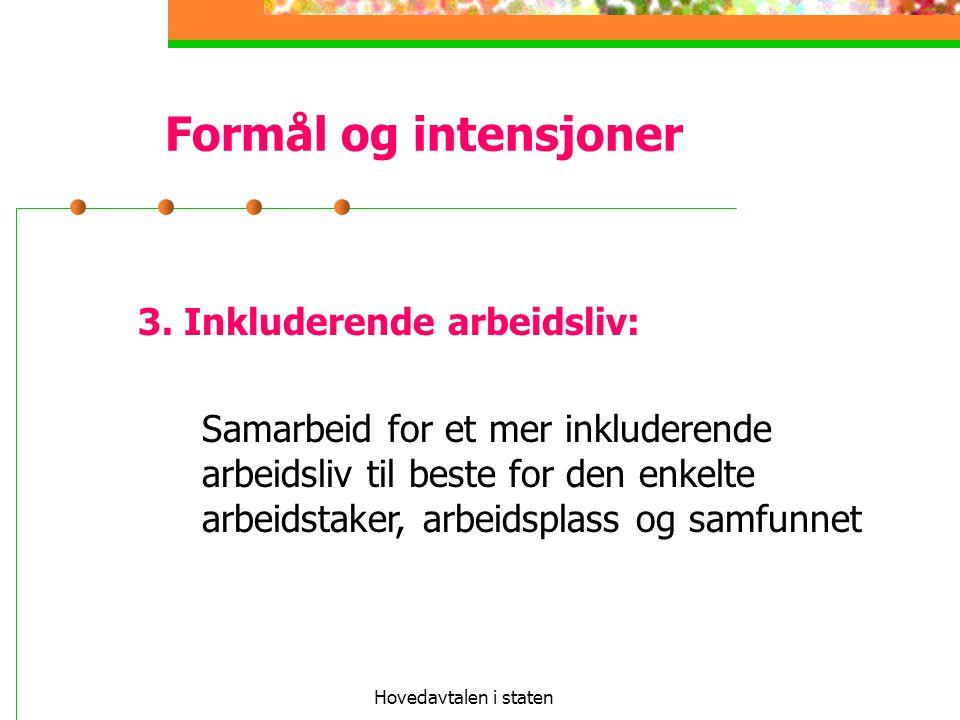 Hovedavtalen i staten Formål og intensjoner 3. Inkluderende arbeidsliv: Samarbeid for et mer inkluderende arbeidsliv til beste for den enkelte arbeids