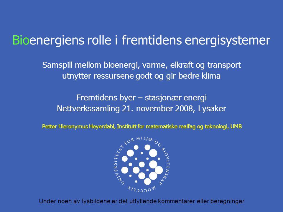 Bioenergiens rolle i fremtidens energisystemer Samspill mellom bioenergi, varme, elkraft og transport utnytter ressursene godt og gir bedre klima Fremtidens byer – stasjonær energi Nettverkssamling 21.