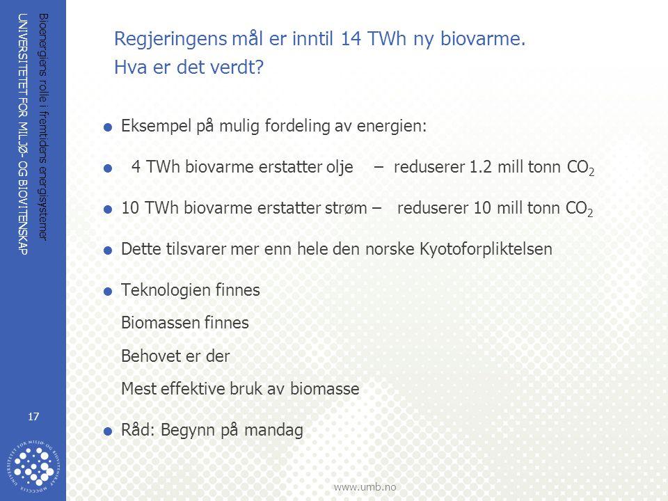 UNIVERSITETET FOR MILJØ- OG BIOVITENSKAP www.umb.no Bioenergiens rolle i fremtidens energisystemer 17 Regjeringens mål er inntil 14 TWh ny biovarme.