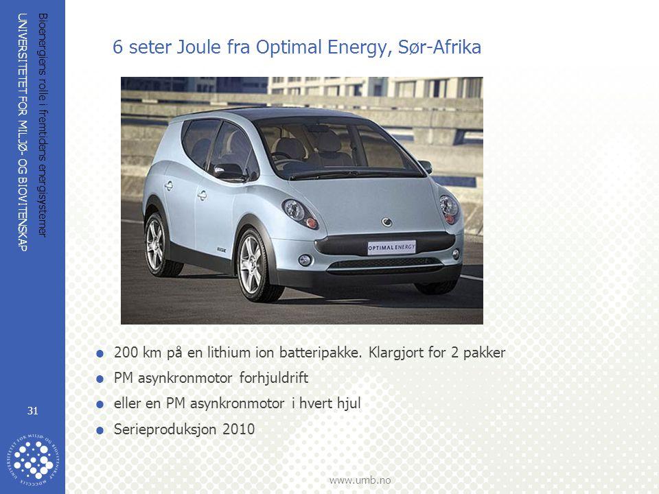 UNIVERSITETET FOR MILJØ- OG BIOVITENSKAP www.umb.no Bioenergiens rolle i fremtidens energisystemer 31 6 seter Joule fra Optimal Energy, Sør-Afrika  200 km på en lithium ion batteripakke.