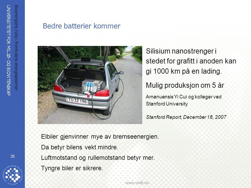UNIVERSITETET FOR MILJØ- OG BIOVITENSKAP www.umb.no Bioenergiens rolle i fremtidens energisystemer 35 Bedre batterier kommer Silisium nanostrenger i stedet for grafitt i anoden kan gi 1000 km på en lading.