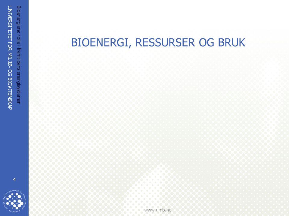 UNIVERSITETET FOR MILJØ- OG BIOVITENSKAP www.umb.no Bioenergiens rolle i fremtidens energisystemer 4 BIOENERGI, RESSURSER OG BRUK