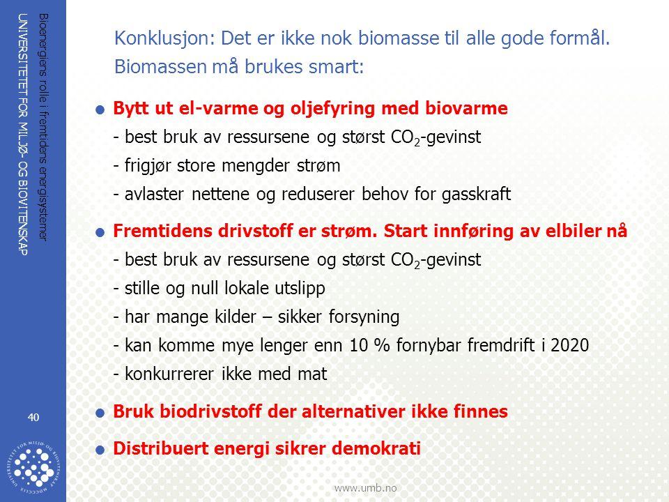 UNIVERSITETET FOR MILJØ- OG BIOVITENSKAP www.umb.no Bioenergiens rolle i fremtidens energisystemer 40 Konklusjon: Det er ikke nok biomasse til alle gode formål.