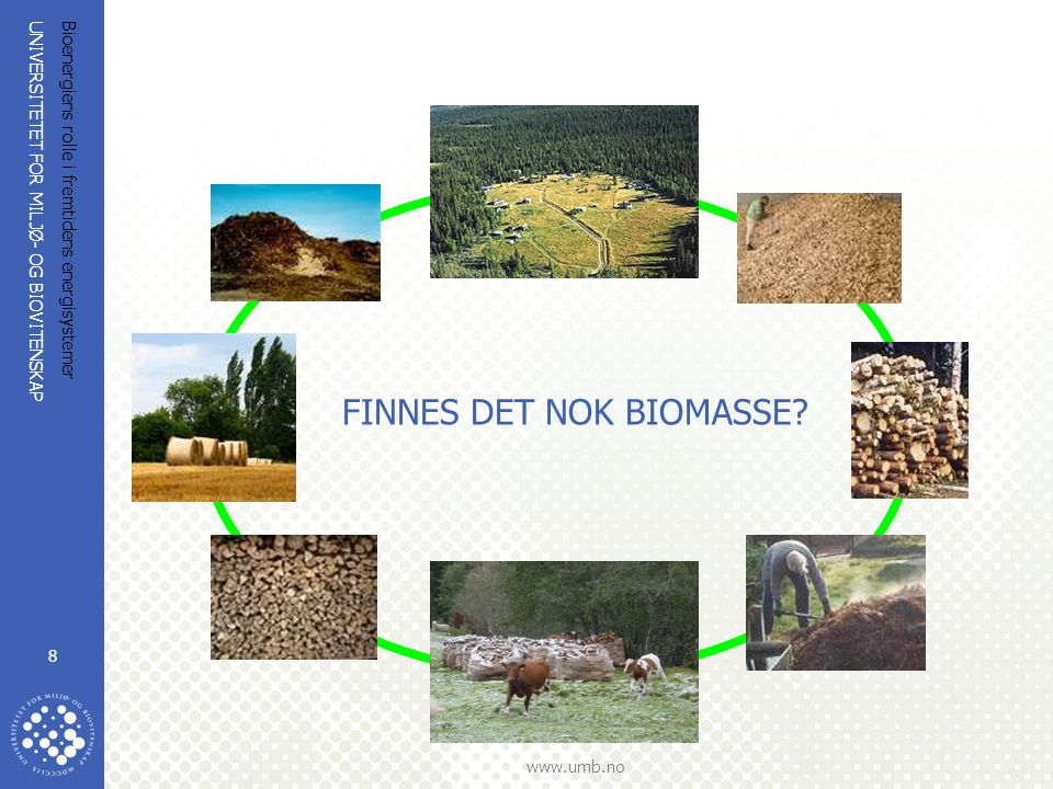 UNIVERSITETET FOR MILJØ- OG BIOVITENSKAP www.umb.no Bioenergiens rolle i fremtidens energisystemer 9 Biomasse til energi  Industri og privat til sammen i dag:16 TWh  Mulig økt uttak og høsting uten å true artsmangfoldet:30 TWh (Avfall fra storsamfunn, industri, bioproduksjon og foredling, tre, biogass, deponigass skogsbrensel, grot, halm, kornavrens....)  Vi kan tredoble bruk av bioenergi i Norge til 45 TWh (NVE 7/2003 og NVE P06 037)  Men det er ikke nok: Andre kilder må inn: Sol, vann, varmepumpe, vind, bølge, tidevann, jordvarme, saltkraft  Øke fokus på energikvalitet: Rett energi på rett plass  Øke verdikjedeeffektiviteten  Viktigst: Bruk mindre.