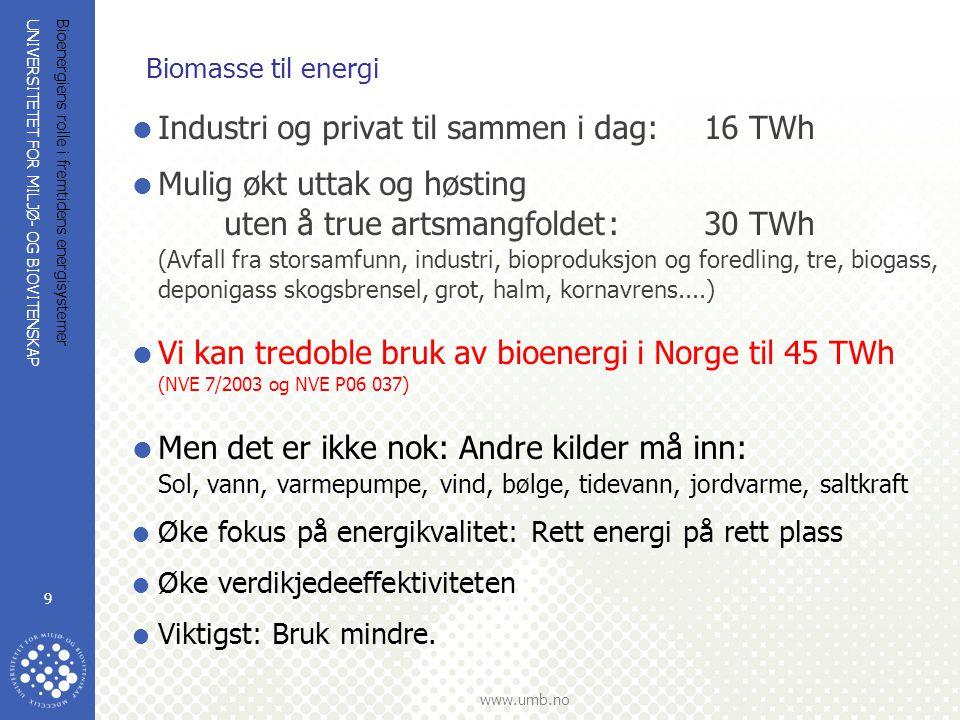 UNIVERSITETET FOR MILJØ- OG BIOVITENSKAP www.umb.no Bioenergiens rolle i fremtidens energisystemer 10 Konklusjon biomasseressurser  Det er ikke nok biomasse til alle gode formål  Den vi har må brukes smart