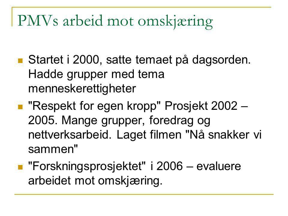PMVs arbeid mot omskjæring Startet i 2000, satte temaet på dagsorden.
