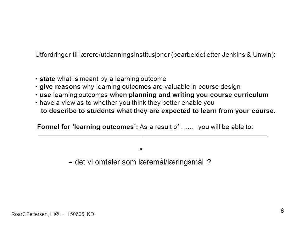 6 Utfordringer til lærere/utdanningsinstitusjoner (bearbeidet etter Jenkins & Unwin): state what is meant by a learning outcome give reasons why learn