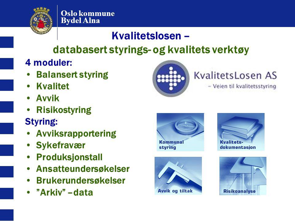 Oslo kommune Bydel Alna Kvalitetslosen – databasert styrings- og kvalitets verktøy 4 moduler: Balansert styring Kvalitet Avvik Risikostyring Styring: