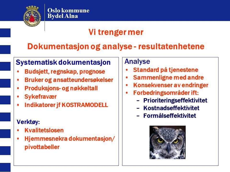 Oslo kommune Bydel Alna Vi trenger mer Dokumentasjon og analyse - resultatenhetene Systematisk dokumentasjon Budsjett, regnskap, prognose Bruker og an