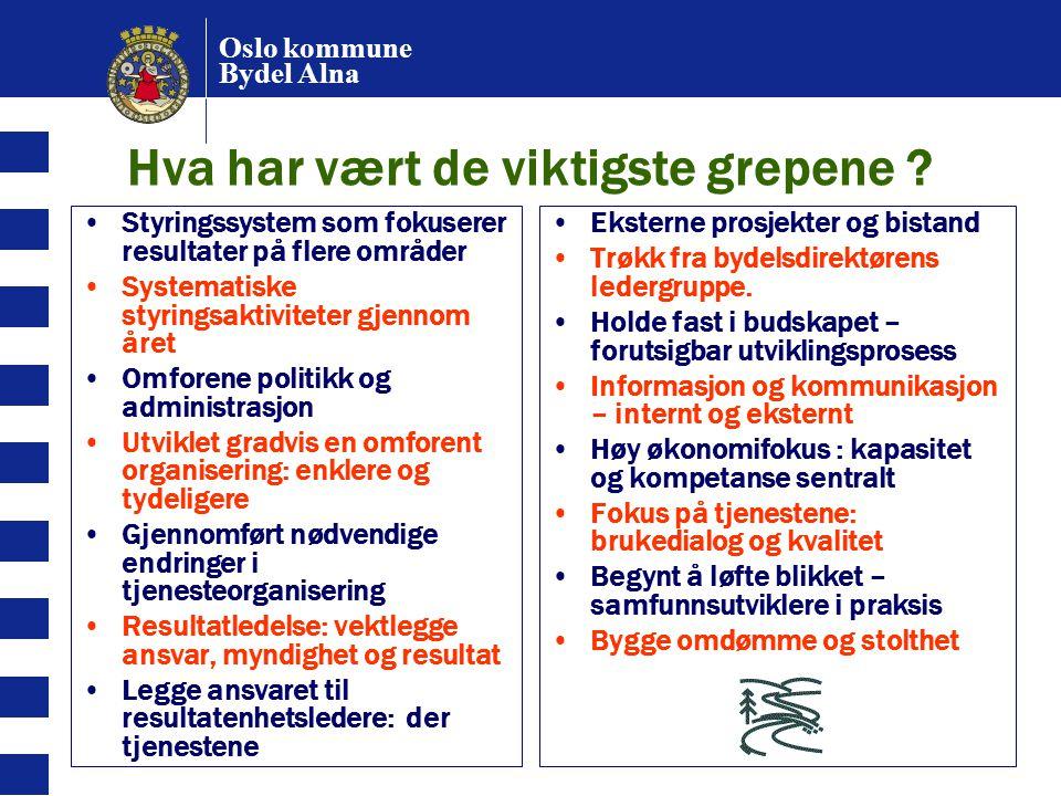 Oslo kommune Bydel Alna Hva har vært de viktigste grepene ? Styringssystem som fokuserer resultater på flere områder Systematiske styringsaktiviteter