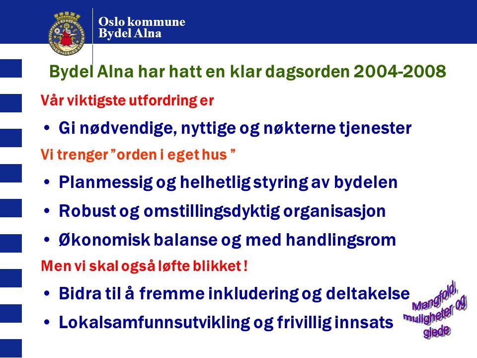 Oslo kommune Bydel Alna Bydel Alna har hatt en klar dagsorden 2004-2008 Vår viktigste utfordring er Gi nødvendige, nyttige og nøkterne tjenester Vi tr