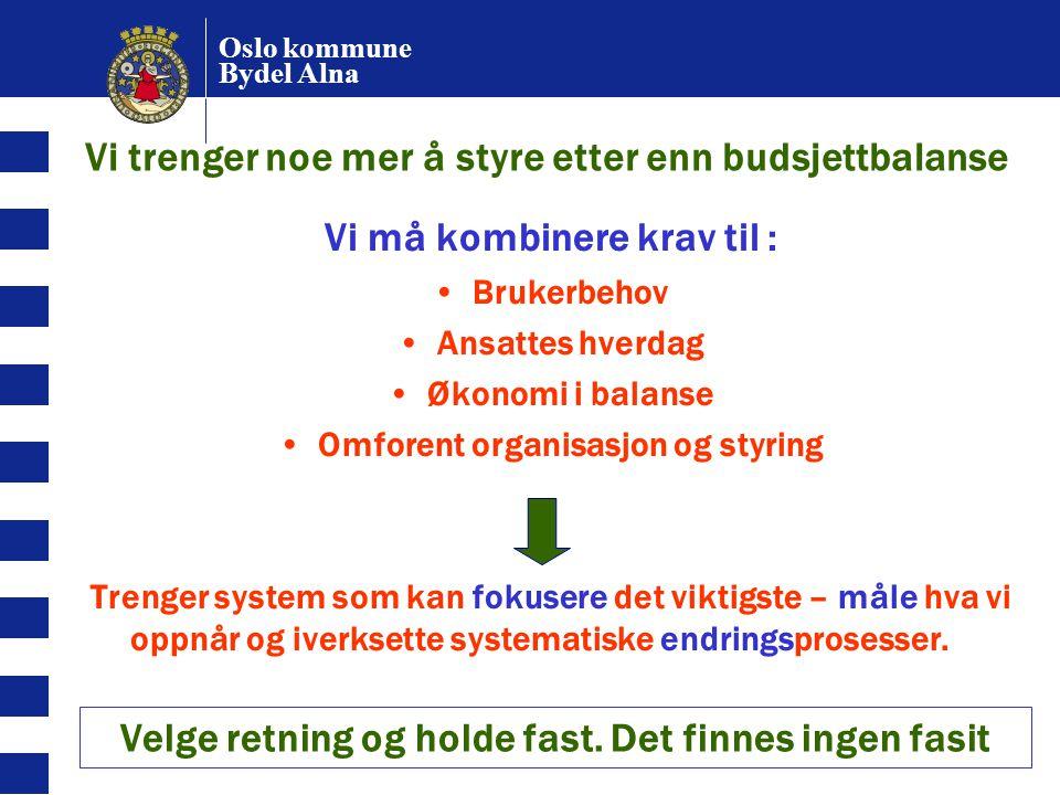 Oslo kommune Bydel Alna HELHETLIG RESULTATSTYRING I PRAKSIS BALANSERT STYRING: FOKUSOMRÅDER, RESULTATMÅL RESULTATMÅLING OG DIALOG BRUKER- OG ANSATTUNDERSØKELSER DATA: ØKONOMI, SYKEFRAVÆR, MÅLTALL ÅRSHJUL FOR STYRING: SYSTEMATISKE AKTIVITETER POLITISK/ADMINISTRATIV DELTAKELSE RESULTATLEDELSE STYRINGSDIALOGEN ÅRSPLAN FOR RESULTATENHETENE ENKEL ORGANISASJON LEDERE MED KRAV OG FULLMAKT MEDARBEIDERSKAP