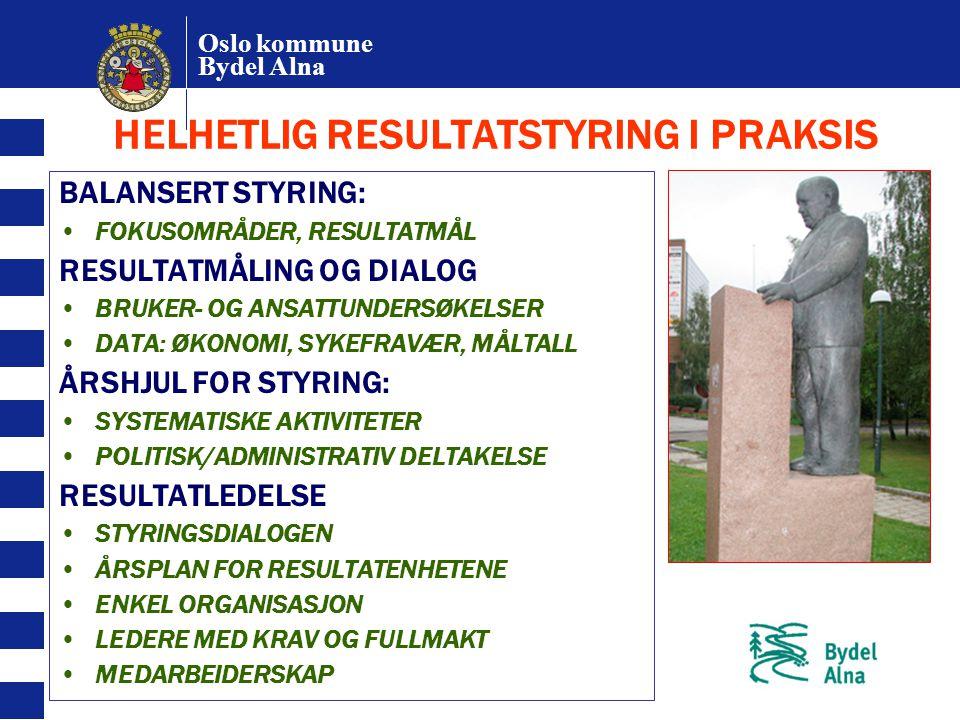 Oslo kommune Bydel Alna HELHETLIG RESULTATSTYRING I PRAKSIS BALANSERT STYRING: FOKUSOMRÅDER, RESULTATMÅL RESULTATMÅLING OG DIALOG BRUKER- OG ANSATTUND