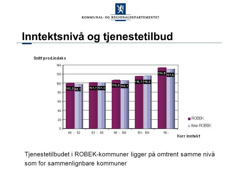 Inntektsnivå og tjenestetilbud Tjenestetilbudet i ROBEK-kommuner ligger på omtrent samme nivå som for sammenlignbare kommuner