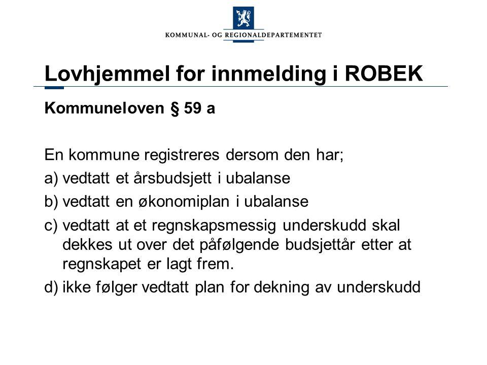 Oppsummering 1.ROBEK fanger opp kommuner med de største økonomiske utfordringer 2.ROBEK-status skyldes ikke primært lavt inntektsnivå 3.ROBEK-kommuner sliter med høy gjeld 4.ROBEK-status påvirker driftsresultat positivt 5.Tjenestetilbud i ROBEK kommuner avviker ikke fra sammenlignbare kommuner 6.Store variasjoner mellom fylkene 7.Små kommuner er underrepresentert i ROBEK