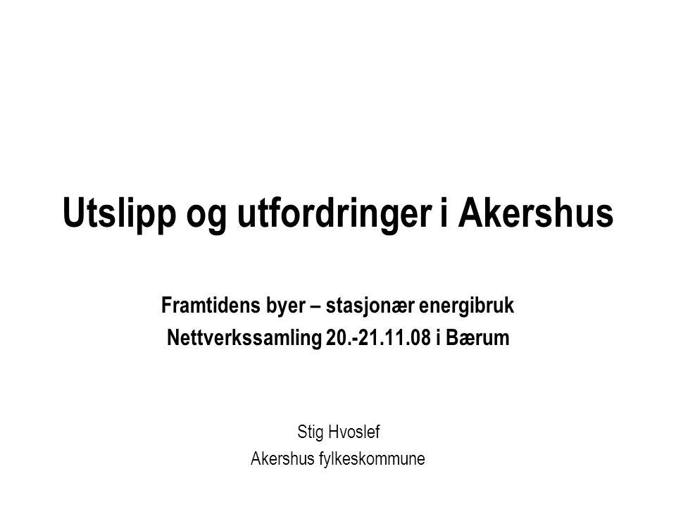Utslipp og utfordringer i Akershus Framtidens byer – stasjonær energibruk Nettverkssamling 20.-21.11.08 i Bærum Stig Hvoslef Akershus fylkeskommune