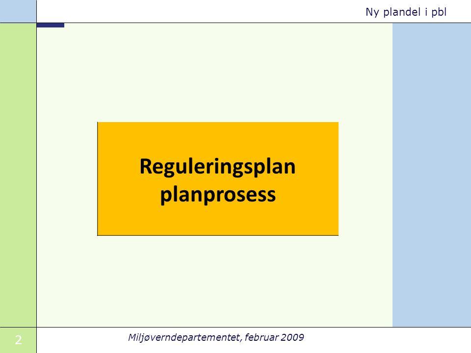 2 Miljøverndepartementet, februar 2009 Ny plandel i pbl Reguleringsplan planprosess