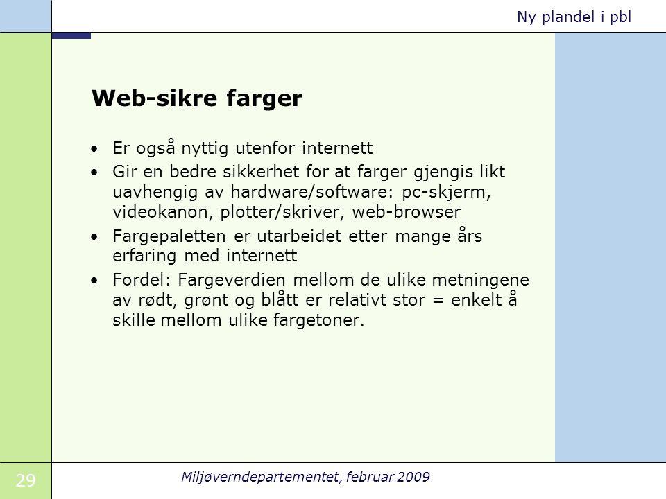 29 Miljøverndepartementet, februar 2009 Ny plandel i pbl Web-sikre farger Er også nyttig utenfor internett Gir en bedre sikkerhet for at farger gjengi