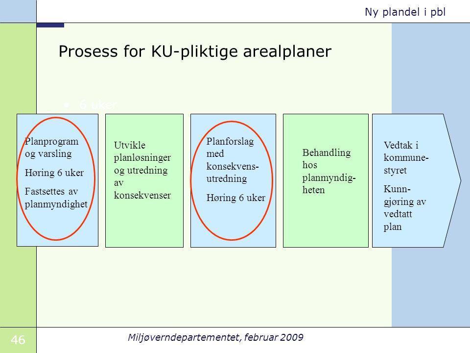 46 Miljøverndepartementet, februar 2009 Ny plandel i pbl Prosess for KU-pliktige arealplaner 6 uker Planprogram og varsling Høring 6 uker Fastsettes a