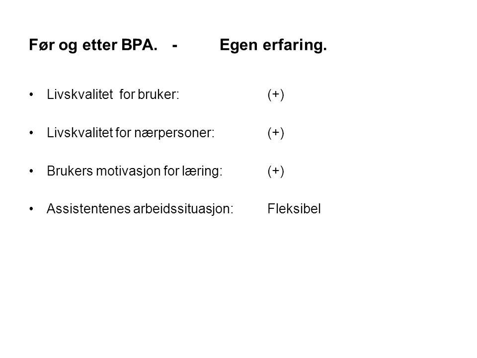 Før og etter BPA.-Egen erfaring. Livskvalitet for bruker:(+) Livskvalitet for nærpersoner:(+) Brukers motivasjon for læring:(+) Assistentenes arbeidss