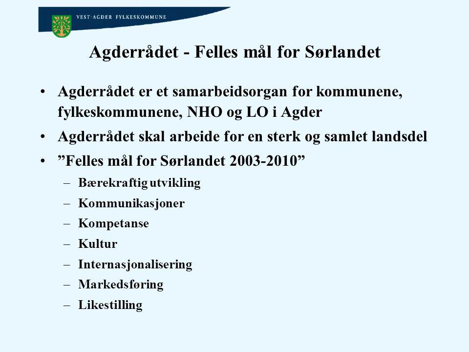 Agderrådet - Felles mål for Sørlandet Agderrådet er et samarbeidsorgan for kommunene, fylkeskommunene, NHO og LO i Agder Agderrådet skal arbeide for e