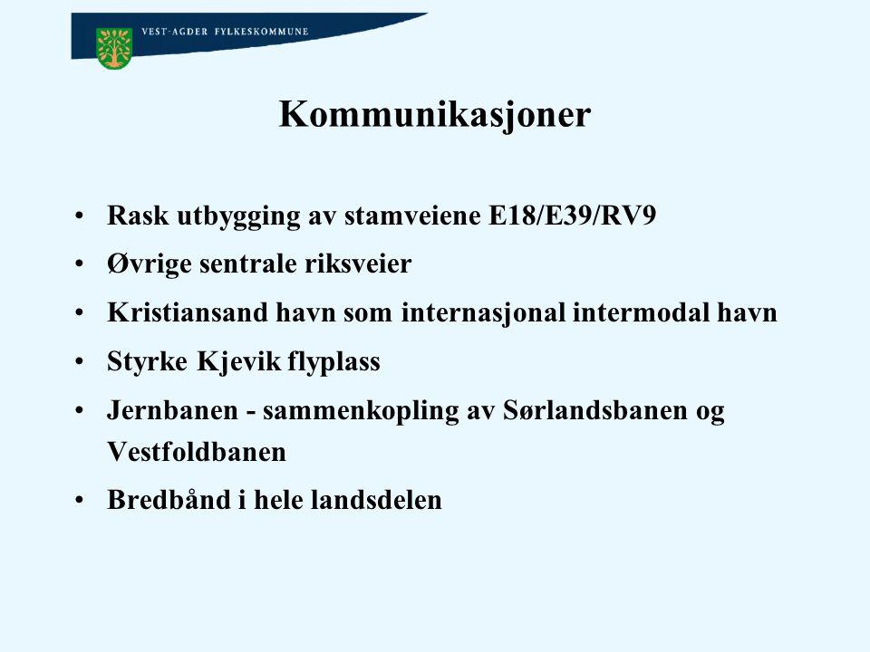 Kommunikasjoner Rask utbygging av stamveiene E18/E39/RV9 Øvrige sentrale riksveier Kristiansand havn som internasjonal intermodal havn Styrke Kjevik f