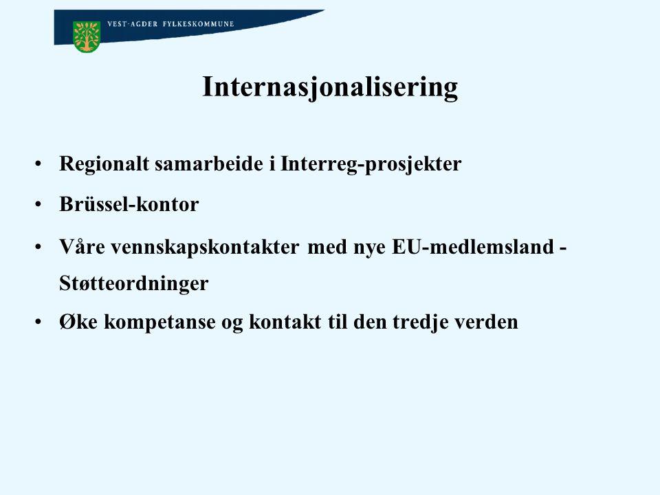 Internasjonalisering Regionalt samarbeide i Interreg-prosjekter Brüssel-kontor Våre vennskapskontakter med nye EU-medlemsland - Støtteordninger Øke ko