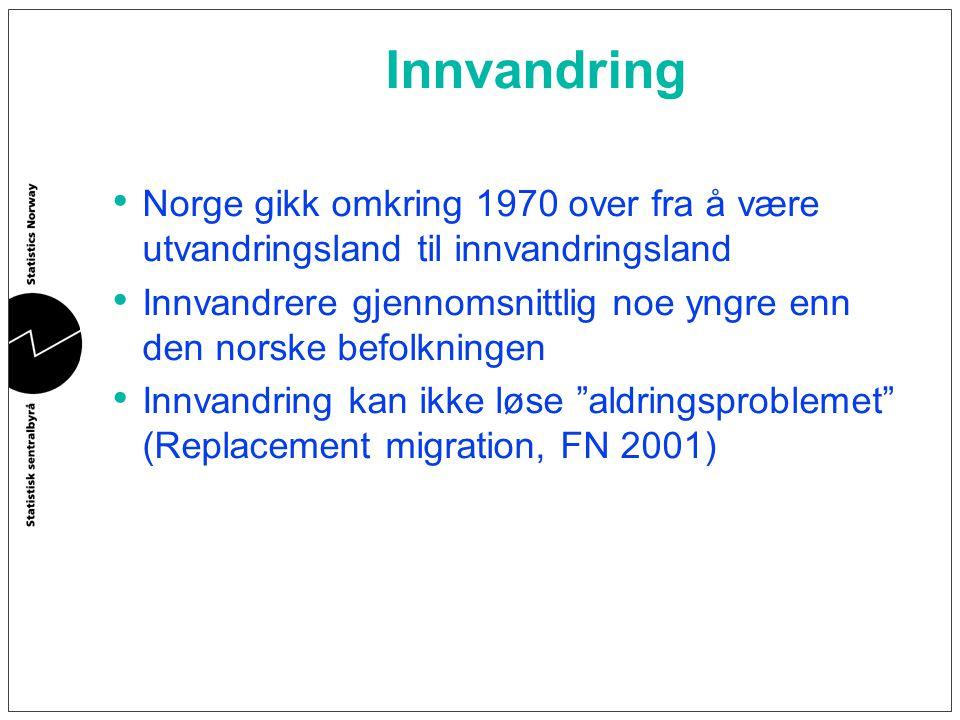Innvandring Norge gikk omkring 1970 over fra å være utvandringsland til innvandringsland Innvandrere gjennomsnittlig noe yngre enn den norske befolkni