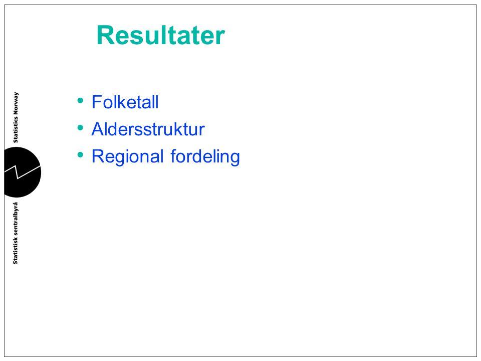 Resultater Folketall Aldersstruktur Regional fordeling