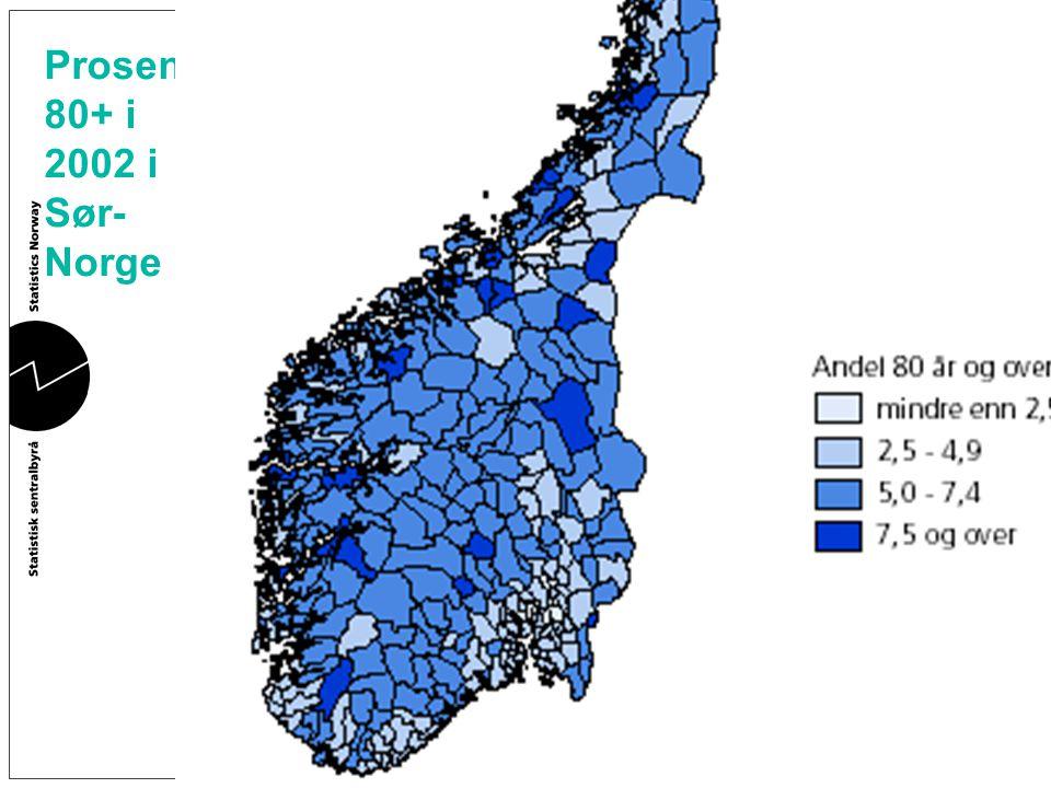 Prosent 80+ i 2002 i Sør- Norge