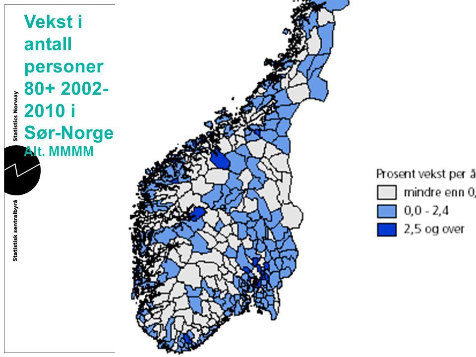 Vekst i antall personer 80+ 2002- 2010 i Sør-Norge. Alt. MMMM